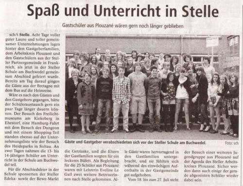 Schueleraustausche der Schule am Buchwedel  Mai 2010 - Winsener Anzeiger