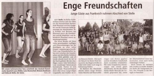 Jugendliche aus Plouzané ind Stelle im Juli 2010 - Winsener Anzeiger