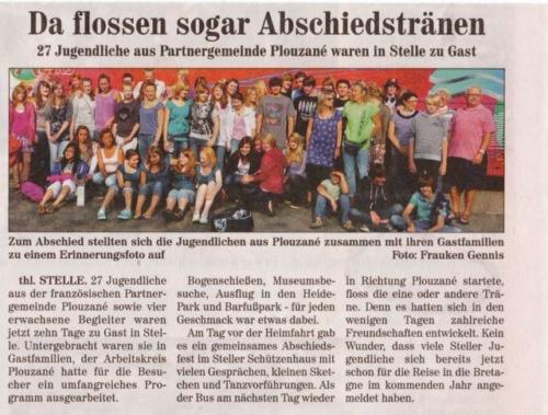 Jugendliche aus Plouzané in Stelle im Juli 2010 - Wochenblatt Elbe und Geest